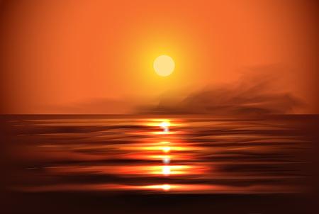 Illustration pour Illustration of sunset view in sea - image libre de droit