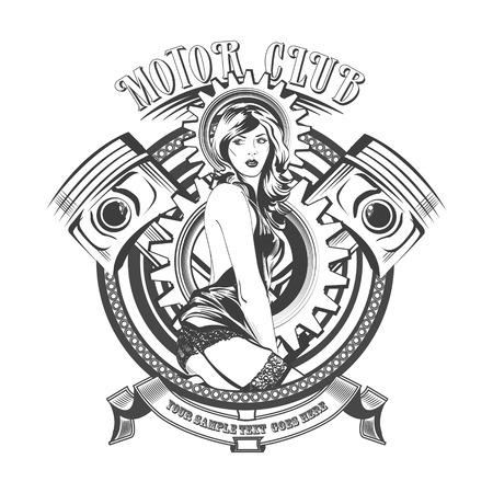 Illustration pour Vintage Motor Club Signs and Label with a beautiful woman. - image libre de droit