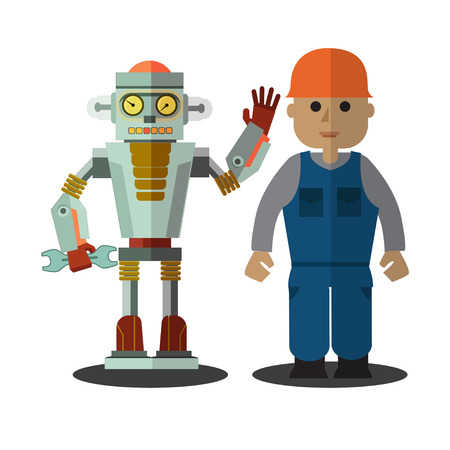 Robot and man working together standing on a white background. Retro flat style.