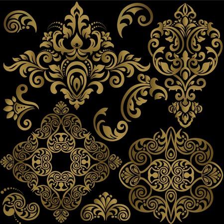 Illustration pour Damask floral pattern set. Vector Illustration - image libre de droit