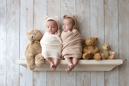 Photo pour Twin baby sisters wearing crocheted bear bonnets and sitting on a wooden shelf alongside three stuffed bears. - image libre de droit