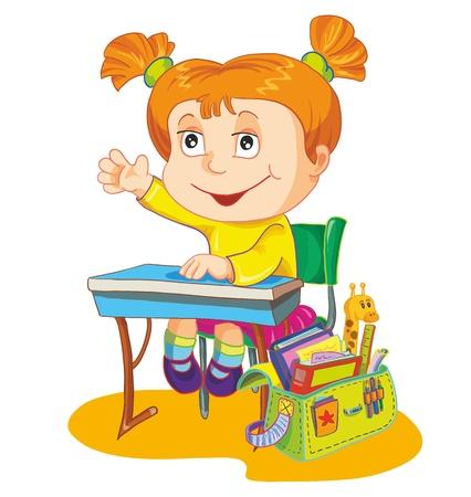 illustration-schoolgirl sit on the school desk