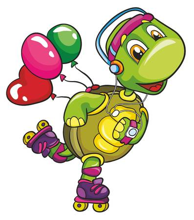 turtle on roller skates on a white background, vector illustration