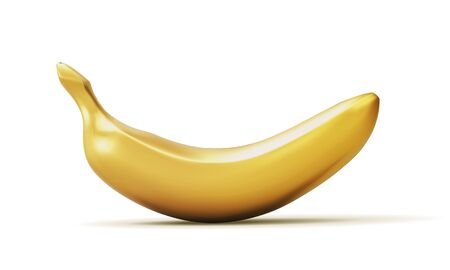 Illustration pour Realistic golden banana isolated on white background. 3D template for products, advertizing, web banners, leaflets. Vector illustration - image libre de droit