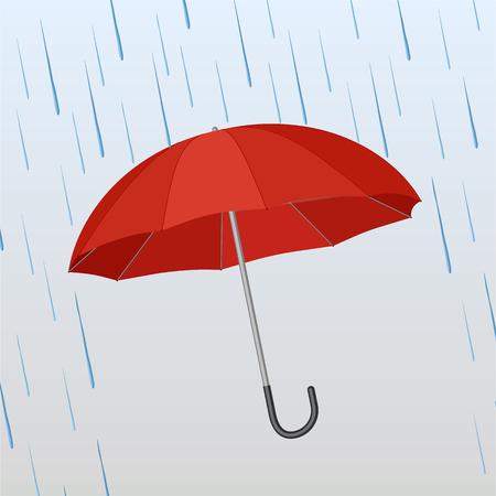 Illustration pour Opened red umbrella protects against rain onthe blue background. Vector illustration  - image libre de droit