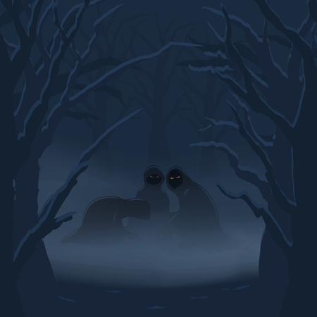 Illustration pour Ghosts in a misty night forest. Halloween background. Vector illustration. - image libre de droit