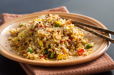 Fried Rice with Vegetables and fried eggs - Chinese Cuisineの写真素材