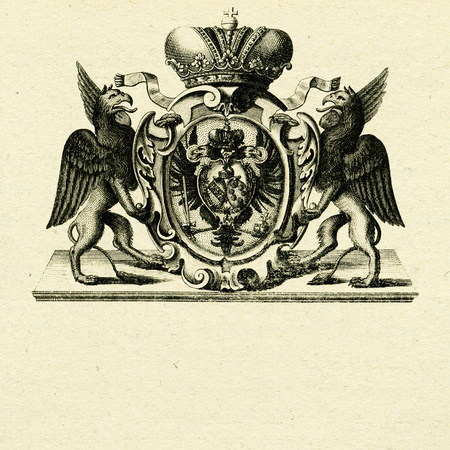 coat of arms whith griffins on old paper background