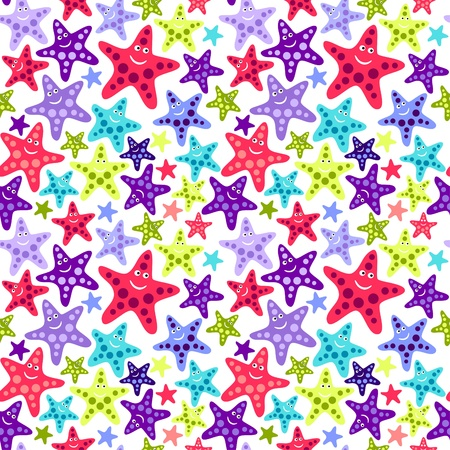 Seamless pattern with funny starfish