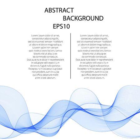 Illustration pour Abstract vector background, blue transparent waved lines. smoke wave. - image libre de droit