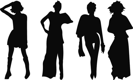 Illustration for Black set silhouette of a woman on a white background - Royalty Free Image