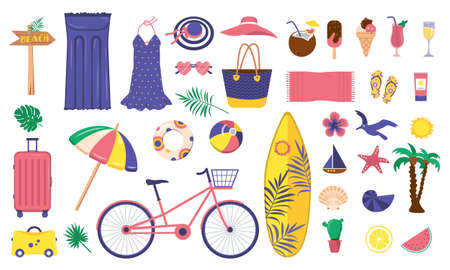 Illustration pour A large bright set summer items. Beach, vacation and travel icons. Clothing, ice cream, soft drinks and decorative marine elements. Cycle ride, luggage holiday and surfboard. Vector flat illustration - image libre de droit