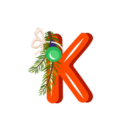 Illustration pour Red letter K with green Christmas tree branch, ball with bow. Festive font for Happy New Year and bright alphabet - image libre de droit