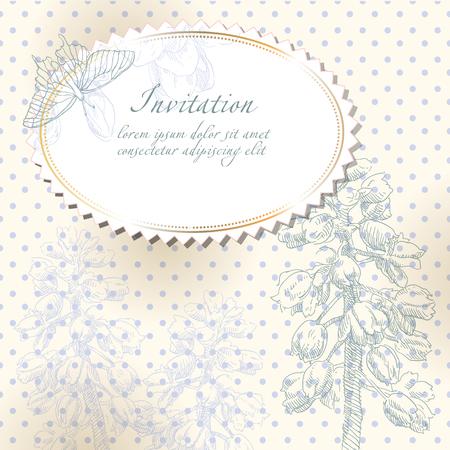 Beauty hand drawing card flower frames. Vector illustration.