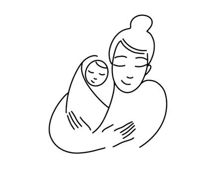 Illustration for Illustration for a logo, mother with a baby in her arms. Newborn child. Line drawing. Happy Motherhood. Logo for childbirth preparation courses. Vector graphics. - Royalty Free Image