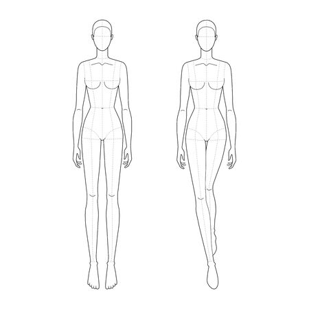 Illustration pour Fashion template of walking and standing lady with main lines. 9 head size for technical drawing. Womans figure front view. Vector outline girl template for fashion sketching and illustration. - image libre de droit