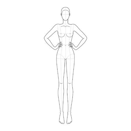 Illustration pour Fashion template 9 head for technical drawing with main lines with hand on waist. Womans figure front view. Vector outline girl model template for fashion sketching for fashion illustration. - image libre de droit