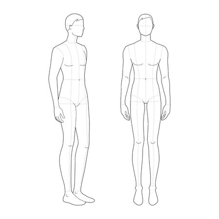 Illustration pour Fashion template of standing men. 9 head size for technical drawing with main lines. Gentlemen figure front and 3-4 view. Vector outline boy for fashion sketching and illustration. - image libre de droit