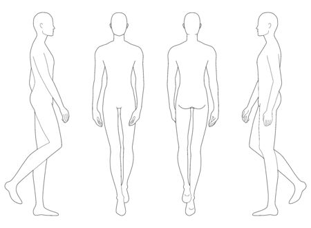 Illustration pour Fashion template of walking men in different point of view. 9 head size for technical drawing. Gentlemen figure front, side and back view. Vector outline boy for fashion sketching and illustration. - image libre de droit