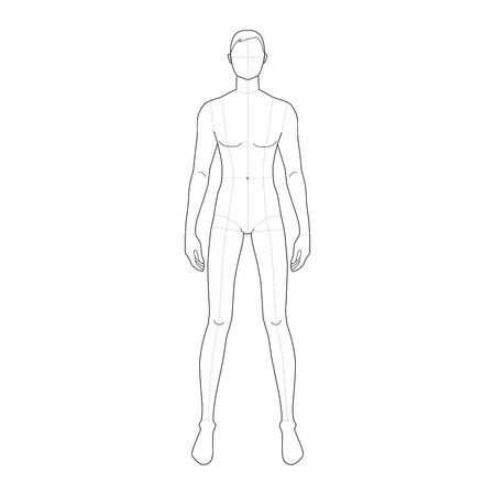 Illustration pour Fashion template of standing men with wide legs. 9 head size for technical drawing with main lines. Gentlemen figure front view. Vector outline boy for fashion sketching and illustration. - image libre de droit