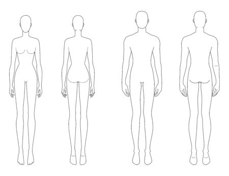 Illustration pour Fashion template of standing men and women. 9 head size for technical drawing. Gentlemen and lady figure front and back view. Vector outline boy and girl for fashion sketching and illustration. - image libre de droit