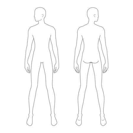 Illustration pour Fashion template of standing men. 9 head size for technical drawing with and without main lines. Gentlemen figure front and back view. Vector outline boy for fashion sketching and illustration. - image libre de droit