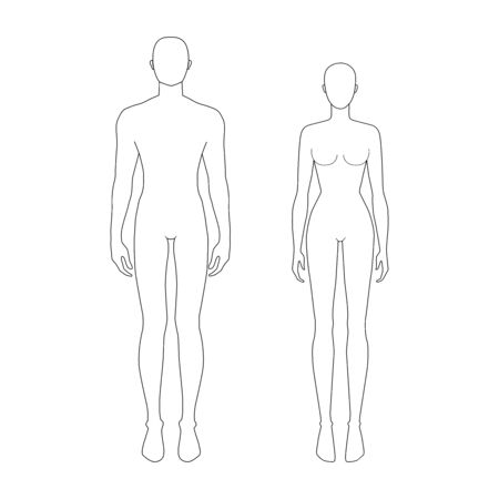 Ilustración de Fashion template of women and men. 7.5 head real size for technical drawing. Gentlemen and lady figure view. Vector outline boy and girl for fashion sketching and illustration. - Imagen libre de derechos