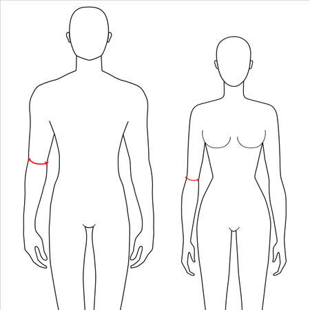 Illustration pour Women and men to do elbow measurement fashion Illustration for size chart. 7.5 head size girl and boy for site or online shop. Human body infographic template for clothes. - image libre de droit
