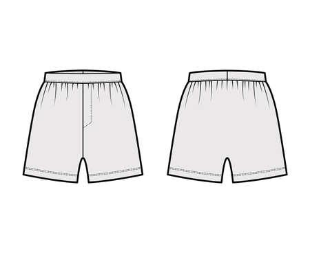 Illustration pour Boxer shorts underwear technical fashion illustration with loose silhouette, elastic band. Flat trunks Underpants lingerie template front, back, grey color. Women men unisex Kacchera CAD mockup - image libre de droit
