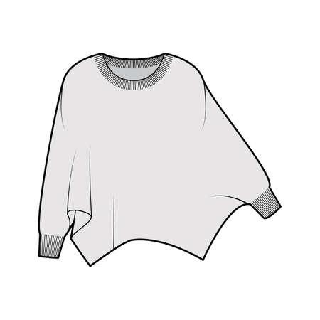 Illustration pour Sweater batwing sleeve technical fashion illustration with rib oval neck, oversized, hip length, knit trim. Flat garment apparel front, grey color style. Women, men unisex CAD mockup - image libre de droit
