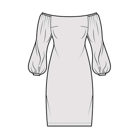 Illustration for Dress off-the-shoulder Bardot technical fashion illustration with long puff sleeves, fitted body, knee length pencil skirt. Flat evening apparel front, grey color style. Women, men unisex CAD mockup - Royalty Free Image