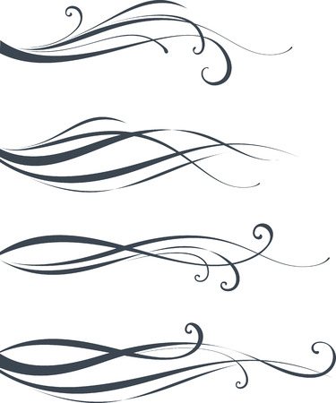 Illustration for Scroll design. As well in vertical. Elements can be ungrouped for easy editing. - Royalty Free Image