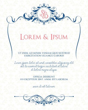 Illustration pour Ornate page design with decorative floral frame and monogram. Use for wedding invitations, greeting cards, invitations, menus, covers, posters, brochures and flyers. Vector illustration. - image libre de droit