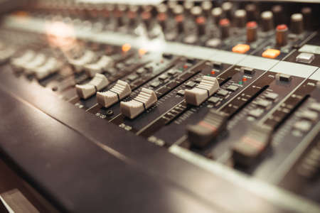 Photo for Equalizer adjusting Sound recording studio mixing desk - Royalty Free Image