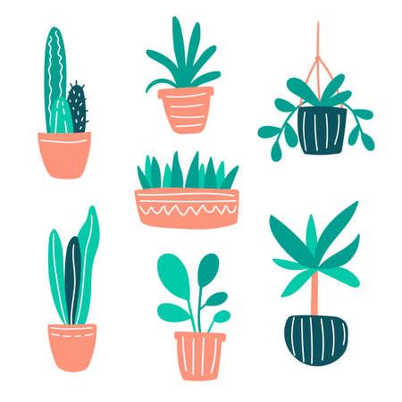 Illustration pour Vector illustration with home plants collection set. Cute doodle plants growing in pots. Green home gardening concept for decor, design, poster, blog. Plants are friends. Cacti and succulents doodle - image libre de droit