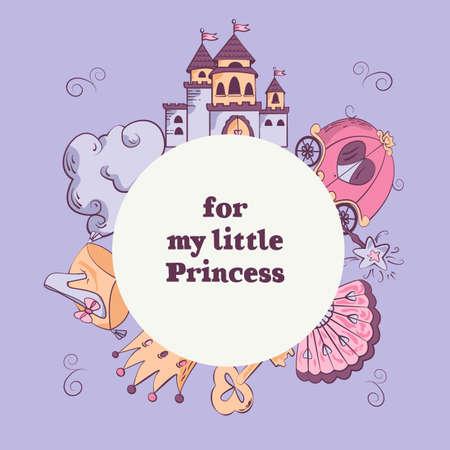 Illustration pour vectors template with castle, cloud, carriage, shoe, fan, crown, golden key, magic wand. Greeting card for little girls. - image libre de droit