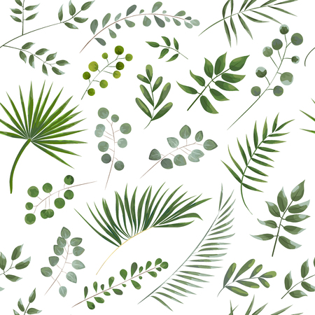 Illustration pour pattern of green leaves on a white background, watercolor style. - image libre de droit