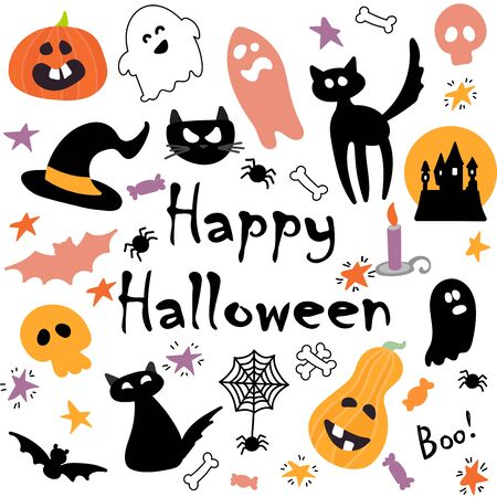 Illustration pour Abstract colorful Halloween,illustration background with Pumpkins, ghost and cat. autumn illustration for Halloween - image libre de droit