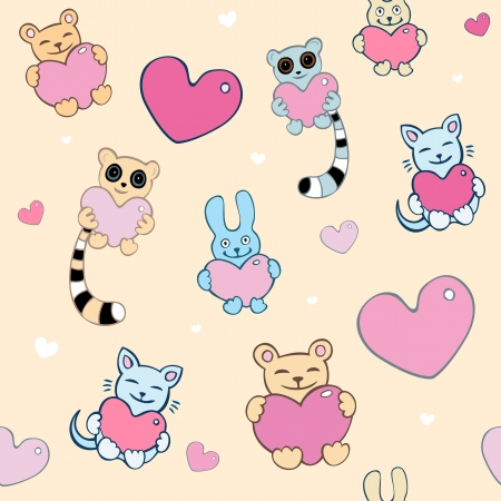 Lovely cartoon seamless background  Lemurs, cats, bunnies