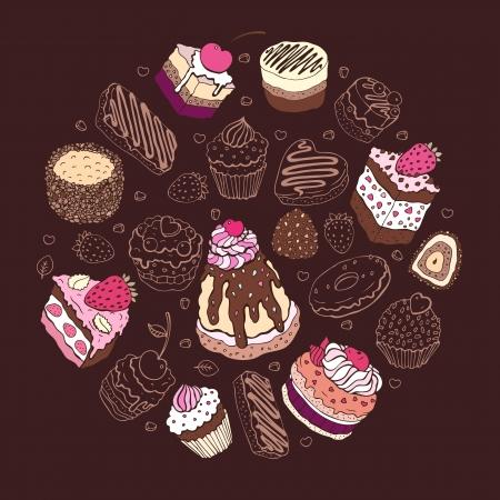 Set of cute cake  Multicolored