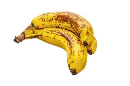 Tre banane su sfondo bianco