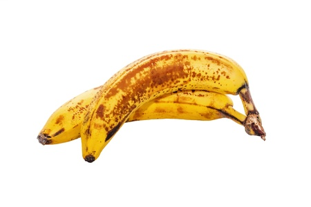 Due banane su sfondo bianco