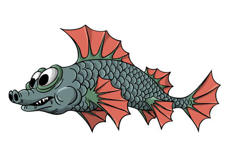 Vector fish. An inhabitant of the waters of rivers and seas. Fins, tail and scales. Vector illustrationのイラスト素材