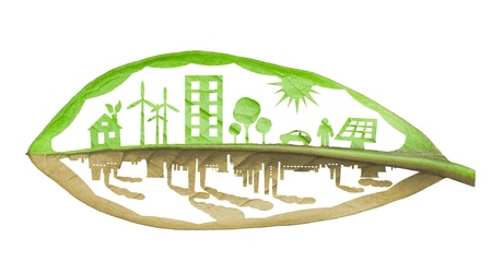 Green ecology city against pollution concept