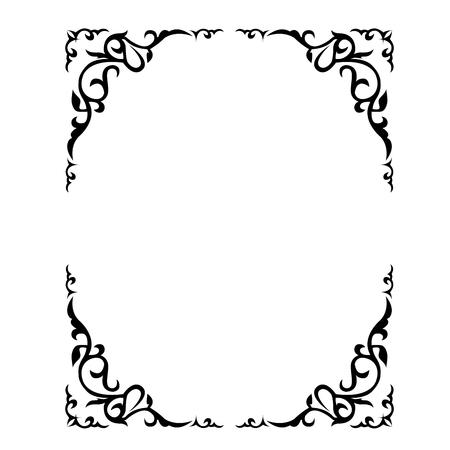 Illustration pour Ornate floral frame with refined vignette in corners - image libre de droit