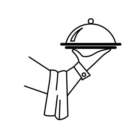 Illustration pour Hand of waiter or butler with tray - service concept - image libre de droit
