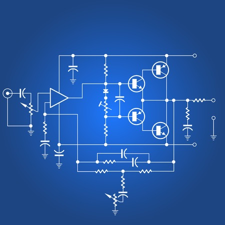 Illustration pour Electric circuit or electrical network on blue background - image libre de droit