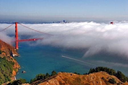San Francisco bridge on a beautiful day.