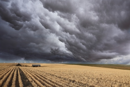 Huge thundercloud on fields of Montana