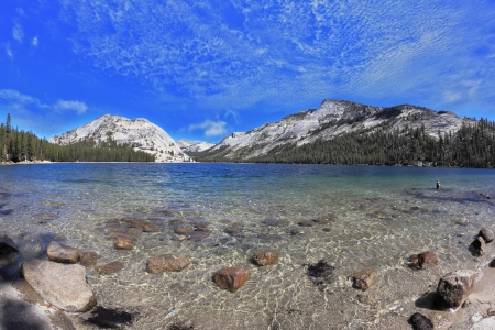 The majestic American nature. Blue lake in a hollow among the mountains